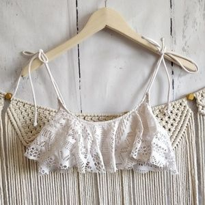 PINK Victoria Secret White Lace Bikini Top S